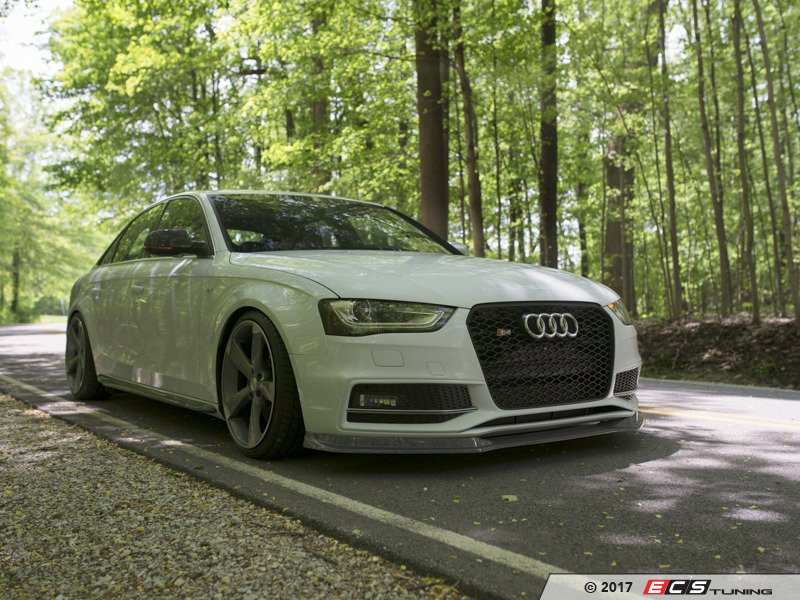 ecs news ecs carbon fiber front lip spoiler audi b8 a4. Black Bedroom Furniture Sets. Home Design Ideas