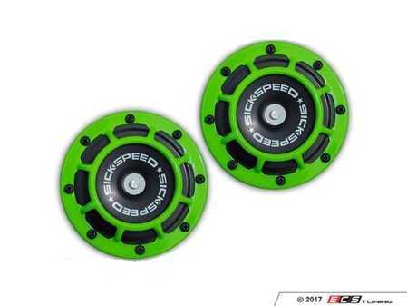 ES#3247893 - BTH-S203GR - 2 Piece Super Loud Horn Kit - Green - Upgraded 118dB horns in the color of your choice - Sickspeed - Audi BMW Volkswagen Mercedes Benz MINI Porsche