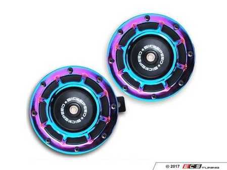 ES#3247895 - BTH-S203NEO - 2 Piece Super Loud Horn Kit - Neochrome - Upgraded 118dB horns in the color of your choice - Sickspeed - Audi BMW Volkswagen Mercedes Benz MINI Porsche