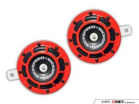 ES#3247896 - BTH-S203RD - 2 Piece Super Loud Horn Kit - Red - Upgraded 118dB horns in the color of your choice - Sickspeed - Audi BMW Volkswagen Mercedes Benz MINI Porsche