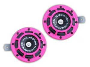 ES#3247894 - BTH-S203PK - 2 Piece Super Loud Horn Kit - Pink - Upgraded 118dB horns in the color of your choice - Sickspeed - Audi BMW Volkswagen Mercedes Benz MINI Porsche
