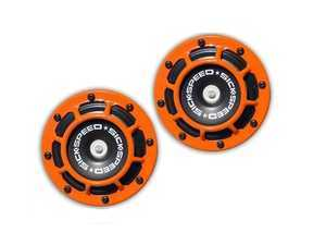 ES#3247899 - BTH-S203ORG - 2 Piece Super Loud Horn Kit - Orange - Upgraded 118dB horns in the color of your choice - Sickspeed - Audi BMW Volkswagen Mercedes Benz MINI Porsche