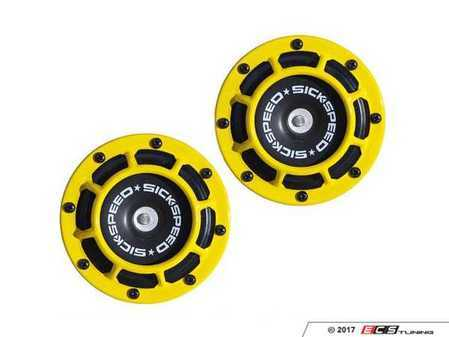 ES#3247901 - BTH-S203YL - 2 Piece Super Loud Horn Kit - Yellow - Upgraded 118dB horns in the color of your choice - Sickspeed - Audi BMW Volkswagen Mercedes Benz MINI Porsche
