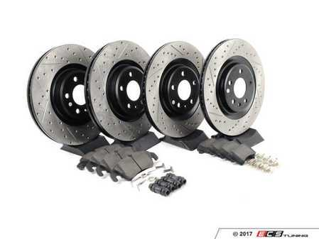 ES#3224035 - 935.33048 - Street Performance Axle Pack Service Kit - Drilled & Slotted - Front & Rear  - Featuring Stoptech Drilled & Slotted rotors and Stoptech Street pads - StopTech - Audi