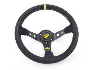 ES#3192160 - OD/2012 - Corsica Racing Steering Wheel - Black/Yellow Suede - Universal sport steering wheel with a 330mm diameter. - OMP - BMW