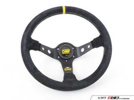 ES#3192160 - OD/2012 - Corsica Racing Steering Wheel - Black/Yellow Suede - Universal sport steering wheel with a 330mm diameter. - OMP - BMW