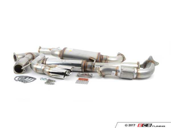 """ES#3079148 - 5619772 - 3"""" Turbo-Back Exhaust System - Stainless Steel - Resonated - Stainless Steel construction with 200-cell high flow cat, with twin double wall polished tips - 42 Draft Designs - Volkswagen"""