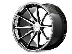 "ES#3411747 - fr422955112maKT - 22"" FR4 Style Wheels - Set Of Four - 22""x9.5"" ET15 66.6CB 5x112 Machine Black with Chrome Lip - Ferrada Wheels - Audi"
