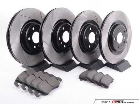 ES#3223845 - 934.33048 - Street Performance Axle Pack Service Kit - Slotted - Front & Rear  - Featuring Stoptech Slotted rotors and Stoptech Street pads - StopTech - Audi