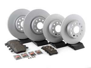 ES#3173623 - 272ecobrksrvcKT -  Economy Ceramic Front & Rear Brake Service Kit (312x25 / 272x10) - Coated Optimal Rotors and Jurid Ceramic Brake pads - Only the essentials to perform a brake service - Assembled By ECS - Volkswagen