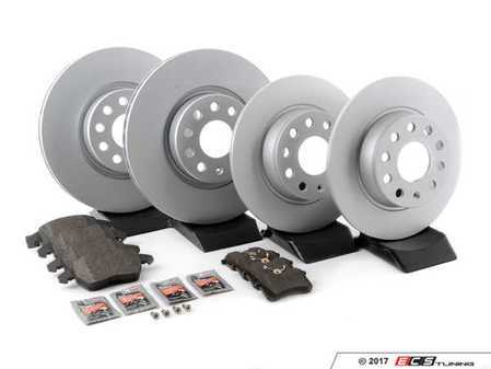 ES#3173623 - 272ecobrksrvcKT -  Economy Ceramic Front & Rear Brake Service Kit (312x25 / 272x10) - Coated Meyle Rotors and Jurid Ceramic Brake pads - Only the essentials to perform a brake service - Assembled By ECS - Volkswagen