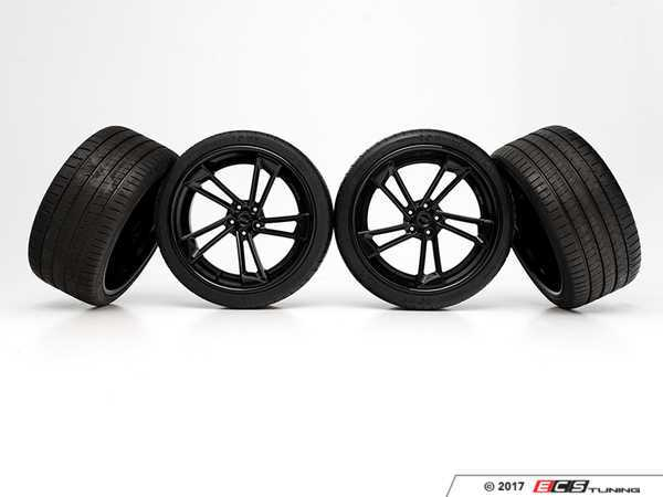 "ES#3419376 - 024644eCS01 - 21"" Custom RS Twist Style ADV.1 Wheels/Tires - Set Of 4 - 21""x10.5"" 5x112 ET30/ET31 CB66.6 Gloss Black with 295/30ZR21 Michelin Pilot Super Sport Tires - ECS - Audi"