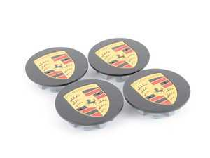 "ES#3252662 - 00004460721 - Center Cap Set - Black with Colored Crests - Set of 4 center caps for 21"" Cayenne Sport Edition wheels - Genuine Porsche - Porsche"