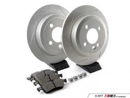 ES#2598333 - 34211503070SLKT1 - Performance Rear Brake Service Kit - Featuring ECS GEOMET Slotted rotors and Hawk HPS pads - Assembled By ECS - MINI
