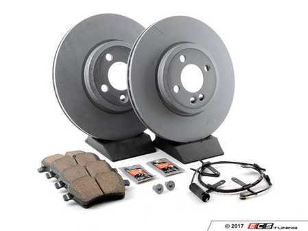 ES#2598234 - 34116774986KT13 - Front Brake Service Kit - Featuring Zimmerman rotors and Akebono pads - Assembled By ECS - MINI