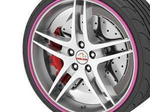 "ES#3247267 - RB03 - GoBadges Rimblades Pink - Set of 4 - Protection and style add on ""redline style"" to the edge of your wheels - Go Badges - MINI"