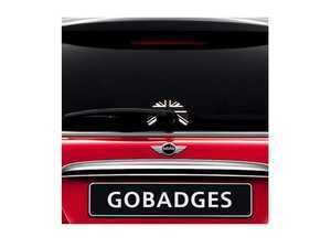 "ES#3419230 - GG0107 - MINI Cooper Wiper Sticker - Black Jack - Adds a upside down ""U"" shaped design around the rear wiper arm on the glass - Go Badges - MINI"