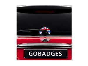 "ES#3419229 - GG0106 - MINI Cooper Wiper Sticker - Union Jack - Adds a upside down ""U"" shaped design around the rear wiper arm on the glass - Go Badges - MINI"