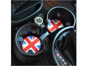 ES#3419274 - IP209 - Cup Holder Badge With Tab (2pc set) - Union Jack (62mm) - Adds a little design to the bottom of the cup holders - Go Badges - MINI