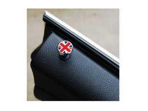 ES#3419281 - IP223 - Chrome Carbon Fiber Door Lock Pins (2pc Set) Union Jack  - Adds a style to your factory door pin location - Go Badges - MINI