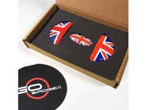 ES#3419234 - IP02 - MINI Cooper Interior Door Pull And Glove Box Cap - Union Jack - Add some style to the interior door handle pulls and glove box handle - Go Badges - MINI