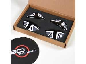 ES#3419236 - IP04 - MINI Cooper Interior Door Pull Covers - Black Jack - Add some style to the interior door handle pulls - Go Badges - MINI