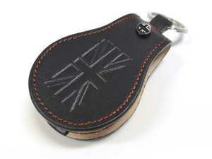 ES#3247208 - KC048 - MINI COOPER Premium Black Leather Key Fob Cover - Black Jack - Protection and style for your car key - Go Badges - MINI