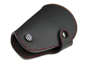 ES#3247190 - KC024 - MINI Cooper Black Leather / Red Stitching Key Fob Cover - Checker - Protection and style for your car key - Go Badges - MINI