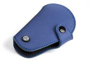 ES#3247192 - KC026 - MINI Cooper Blue Leather Key Fob Cover - Checker - Protection and style for your car key - Go Badges - MINI