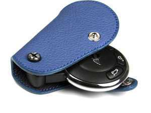 ES#3247181 - KC003 - MINI Cooper Blue Leather Key Fob Cover - Black Jack - Protection and style for your car key - Go Badges - MINI
