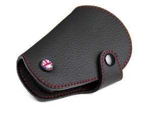ES#3247180 - KC002 - MINI Cooper Black Leather / Red Stitching Key Fob Cover - Union Jack - Protection and style for your car key - Go Badges - MINI
