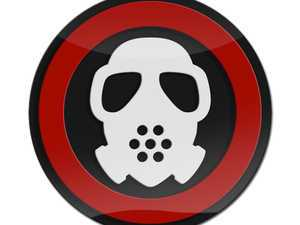 ES#3247249 - LC0095 - GoBadges 3D Gas Mask White with Red Ring - Add a stylish design to your Go Badges holder or plate frame - Go Badges - MINI