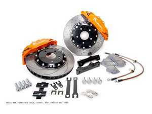 ES#3427943 - BKAU051-831CO - ProComp 8 Piston Big Brake Kit - 2-Piece Cross-Drilled Rotors (330mm) - With Orange Calipers - Eight-piston calipers, pads, two-piece rotors, stainless steel brake lines, and hardware - Ksport - Audi