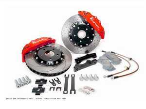 ES#3429144 - BKAU340-841CR - ProComp 8 Piston Big Brake Kit - 2-Piece Cross-Drilled Rotors (356mm) - With Red Calipers - Eight-piston calipers, pads, two-piece rotors, stainless steel brake lines, and hardware - Ksport - Audi