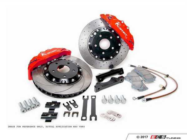 ES#3428163 - BKAU073-841SR - ProComp 8 Piston Big Brake Kit - 2-Piece Slotted Rotors (356mm) - With Red Calipers - Eight-piston calipers, pads, two-piece rotors, stainless steel brake lines, and hardware - Ksport - Audi