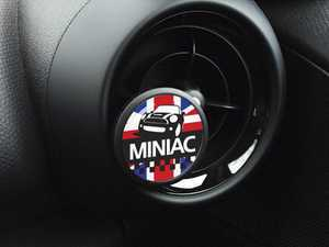 ES#3246852 - A029 - Automotive Air Freshener Interior Badge Vent Clip - MINIAC UK with Clean Cotton and Ocean Breeze Scent Packets - Add the Go Badges Style with Scents to any vent or area in the car - Go Badges - MINI