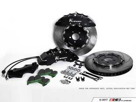 ES#3428362 - BKAU110-951CB - SuperComp 8 Piston Big Brake Kit - 2-Piece Cross-Drilled Rotors (380mm) - With Black Calipers - Eight-piston calipers, pads, two-piece floating rotors, stainless steel brake lines, and hardware - Ksport - Audi