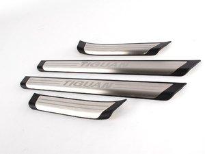 ES#260856 - 5N0071303 - Tiguan Stainless Steel Scuff Plates - Featuirng the Tiguan Logo - Genuine Volkswagen Audi - Volkswagen