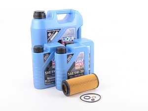 ES#3426572 - E7035DOILAMlmKT - Liqui Moly Oil Change Kit - Everything you need for a comprehensive oil service, including LiquiMoly oil, Febi filter with new drain plug - Assembled By ECS - BMW