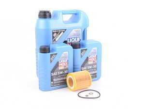 ES#3424299 - N54OCIlmKT - Liqui Moly Longtime High Tech Oil Change Kit - Includes seven quarts of Liqui Moly Longtime High Tech LL 5w-30 synthetic engine oil, Hengst oil filter and new drain plug - Assembled By ECS - BMW