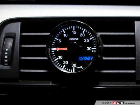 ES#3437269 - 022987TMS01A-05K - Turner Motorsport Boost Gauge with Vent Pod - Blue & White - Designed to fit perfectly in your center vent to monitor boost levels - Turner Motorsport - BMW