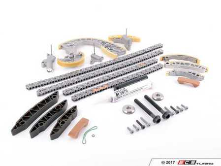 ES#3438261 - 079109229KT12 - Timing Chain Kit  - Includes the upgraded RS4 lower metal guide rail, iwis chains, and OEM tensioners/guides - The essentials necessary to get the job done! - Assembled By ECS - Audi