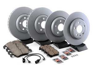 ES#3184309 - 8K0615301AKT23 - Front & Rear Premuim Brake Service Kit - Featuring Zimmermann rotors and Akebono Euro Ceramic Brake pads - Assembled By ECS - Audi