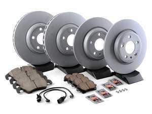 ES#3184309 - 8K0615301AKT23 - Front & Rear Premuim Brake Service Kit - Featuring Zimmermann rotors and Akebono Euro Ceramic Brake pads - Assembled By ECS - Audi