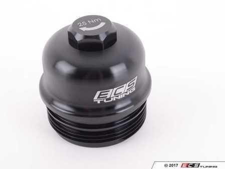 ES#3469765 - 021366ECS01 - Billet Aluminum Oil Filter Housing Cap - Black Anodized - Gorgeous aluminum upgrade for OE plastic cap. No more damaged threads or rounded heads! - ECS - BMW
