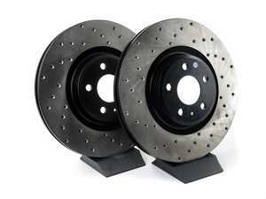 ES#3240954 - 128.33138lKT - Front Drilled Brake Rotors - Pair (345x30) - Upgrade to a cross-drilled rotor for improved braking - StopTech - Audi
