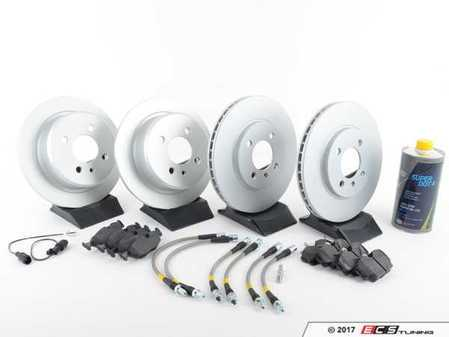 ES#3247695 - 34111160915KT17 - Performance Front And Rear Brake Service Kit - Featuring Meyle rotors, Hawk HPS pads and Stoptech Stainless Steel Brake Lines - Assembled By ECS - BMW
