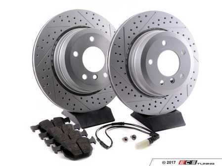 ES#3143711 - 6753221KT2 - Performance Rear Brake Service Kit - Featuring ECS GEOMET cross drilled and slotted rotors and Hawk HPS pads - Assembled By ECS - BMW