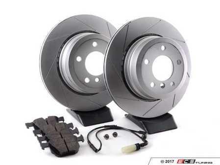 ES#3143714 - 6753221KT5 - Performance Rear Brake Service Kit - Featuring ECS GEOMET slotted rotors and Hawk HPS pads - Assembled By ECS - BMW