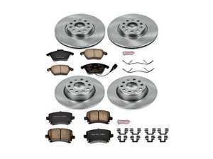 ES#3158639 - KOE2260 - Autospecialty Daily Driver Brake Service Kit - Front & Rear (312x25/282x12) - Stock replacement brake kit with hardware, featuring OE replacement brake rotors and high performance Evolution ceramic pads - Power Stop - Volkswagen
